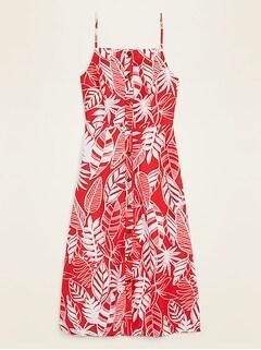 Oldnavy Linen-Blend Button-Front Printed Cami Midi Dress for Women