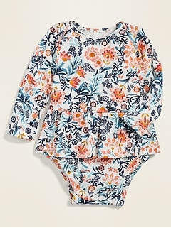 Oldnavy Unisex Long-Sleeve Peplum-Hem Bodysuit for Baby