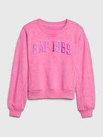 Kids Embossed Gap Logo Crewneck Sweatshirt,phoebe pink