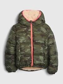 갭 GAP Kids BetterMade ColdControl Max Reversible Puffer Jacket,sassy pink