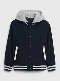 갭 GAP Kids Varsity Bomber Jacket,blue