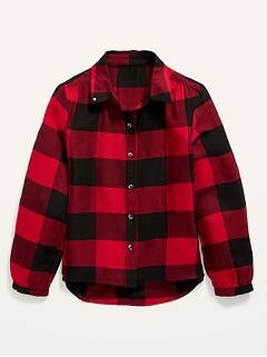 Oldnavy Button-Front Plaid Top for Girls