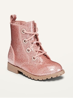 Oldnavy Pink Glitter Lace-Up Combat Boots for Toddler Girls