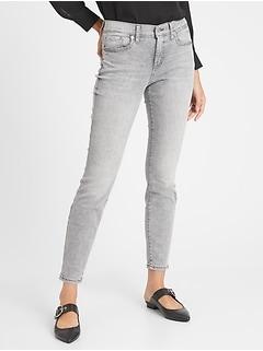 bananarepublic Mid-Rise Grey Acid Wash Skinny Jean