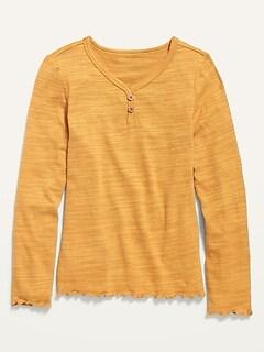Oldnavy Plush-Knit Lettuce-Edged Henley for Girls