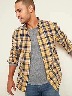 Oldnavy Regular-Fit Built-In Flex Plaid Everyday Shirt for Men