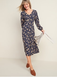Oldnavy Floral-Print Button-Front Fit & Flare Midi Dress for Women