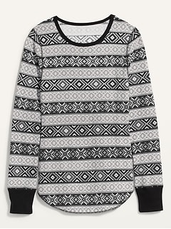 Oldnavy Printed Thermal-Knit Long-Sleeve Tee for Women