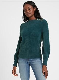 Bananarepublic Fuzzy Puff-Sleeve Sweater