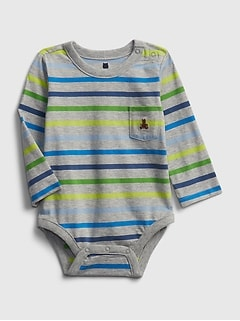 Baby Gap Boy Favorite Stripe Bodysuit 3 Pack Long Sleeve Blue White Newborn 7lb
