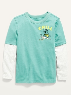 Oldnavy 2-in-1 Long-Sleeve Graphic Tee for Toddler Boys