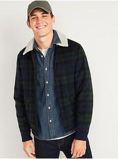 Oldnavy Plaid Wool Sherpa-Collar Bomber Jacket for Men