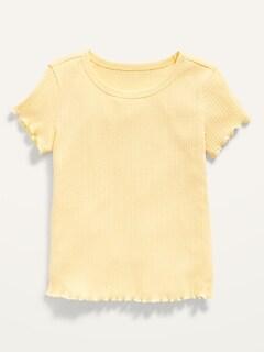 Oldnavy Short-Sleeve Rib-Knit Lettuce-Edged Tee for Toddler Girls