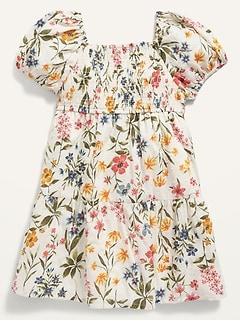 Oldnavy Smocked Puff-Sleeve Swiss Dot Babydoll Dress for Toddler Girls