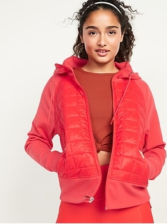 Old Navy Dynamic Fleece Quilted Hybrid Zip Hooded Women's Jacket
