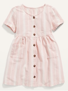 Oldnavy Fit & Flare Button-Front Striped Dress for Toddler