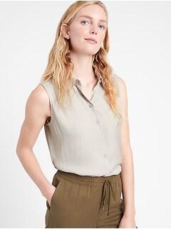 Bananarepublic Cropped Sleeveless Shirt