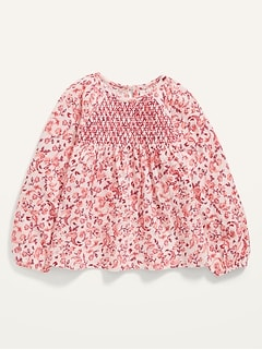 Oldnavy Raglan-Sleeve Smocked Jersey Top for Toddler Girls