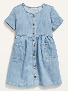 Oldnavy Fit & Flare Button-Front Chambray Dress for Toddler Girls