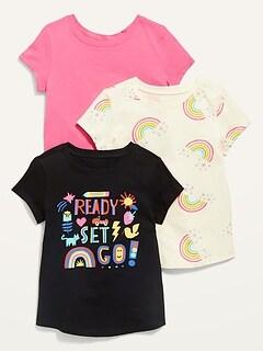 Oldnavy Unisex 3-Pack Long & Lean Short-Sleeve Tee for Toddler