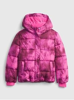 갭 걸즈 푸퍼 자켓 GAP Kids ColdControl Ultra Max Puffer Jacket,pink tie dye