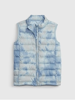 갭 걸즈 푸퍼 조끼 GAP Kids ColdControl Recycled Puffer Vest,blue tie dye