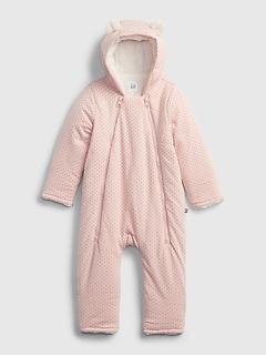 갭 여아용 우주복 GAP Baby Hoodie Sherpa-Lined One-Piece,pink dust