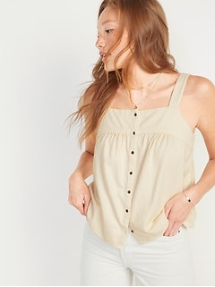 Oldnavy Sleeveless Button-Front Twill Swing Top for Women