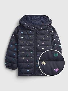 갭 여아용 푸퍼 자켓 GAP Toddler 100% Recycled Polyester ColdControl Print Jacket,foil hearts