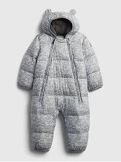 갭 여아용 푸퍼 우주복 GAP Baby 100% Recycled ColdControl Max Puffer One-Piece,flint gray