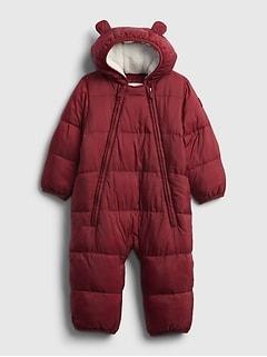 갭 여아용 푸퍼 우주복 GAP Baby 100% Recycled ColdControl Max Puffer One-Piece,cranberry red