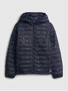 갭 걸즈 푸퍼 자켓 GAP Kids 100% Recycled Polyester ColdControl Puffer Jacket,navy hearts