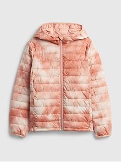 갭 걸즈 푸퍼 자켓 GAP Kids 100% Recycled Polyester ColdControl Puffer Jacket,pink tie dye