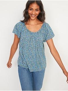 Oldnavy Floral-Print Short-Sleeve Swing Blouse for Women