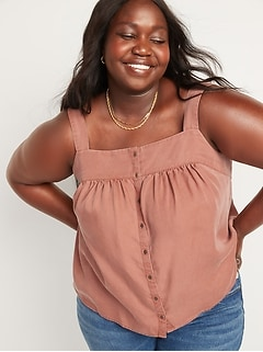 Oldnavy Garment-Dyed Button-Front No-Peek Cami Top for Women