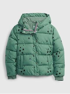 갭 걸즈 푸퍼 자켓 GAP Kids ColdControl Ultra Max Puffer Jacket,green stars