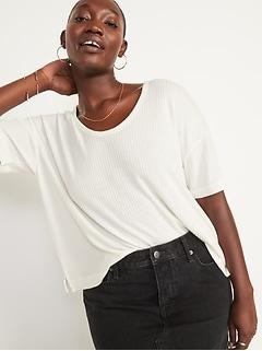 Oldnavy Short-Sleeve Voop Plush Ribbed Easy T-Shirt for Women